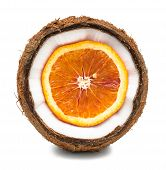 Orange Inside Coconut Isolated On White