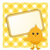 Easter Chick And Sign On Gingham