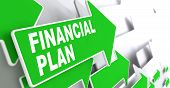 Financial Plan on Green Direction Arrow Sign.