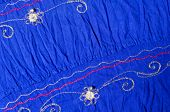 Blue Embroidered Fabric