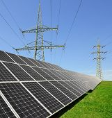 Solar energy panels with electricity pylon