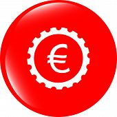 Gear (cog) Web Icon On Cloud With Euro Eur Money Sign