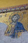 Mosaic of Jesus on the wall, Hagia Sophia Istanbul