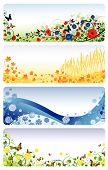 Illustration of four seasons banners