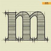 art simple alphabet in vector, classical black handmade font, lowercase letter m