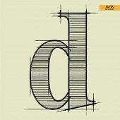 art simple alphabet in vector, classical black handmade font, lowercase letter d