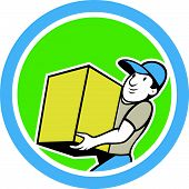 Delivery Worker Carrying Package Cartoon