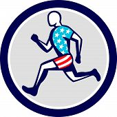 image of sprinter  - Illustration of american sprinter runner running viewed from side set inside circle done in retro style on isolated white background - JPG