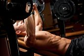 picture of pectorals  - Portrait of a very muscular ripped fit young man - JPG
