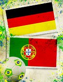 German vs Portugal soccer ball concept