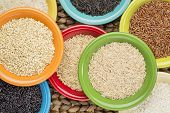 a variety of rice grains on colorful ceramic bowls against a woven water hyacinth mat