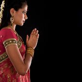 picture of sari  - Beautiful Indian girl in greeting pose - JPG