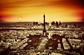 Paris, France at sunset. Aerial view on the Eiffel Tower and the Champ de Mars. Vintage