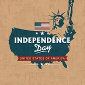 United states of America Map with Statue of Liberty on grungy brown background for American Independ