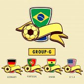 Group G Team Germany, Portugal, Ghana and U.S.A countries flags