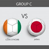 Group C Match Cote d'ivoire v/s Japan countries flags