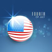 Glossy globe covered by American National Flag on shiny blue background for Fourth of July, American Independence Day celebrations.