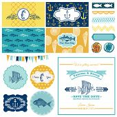 Nautical Sea Theme Set - for Party Decoration, Scrapbook, Wedding Design - in vector