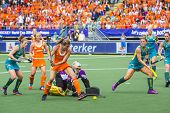 THE HAGUE, NETHERLANDS-JUNE 14,2014: Kim Lammers (23) scores 2-0 in the match against Australia duri