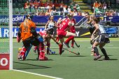 THE HAGUE, NETHERLANDS - JUNE 14: Argentina Field hockey player Luciana Aymar scores 2-1 in the matc