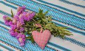 Bouquet Of Purple Cornflowers And Heart