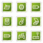 Electronics web icons set 2, green square series