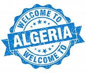 Welcome To Algeria Blue Grungy Vintage Isolated Seal