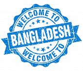 Welcome To Bangladesh Blue Grungy Vintage Isolated Seal