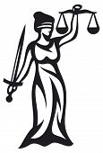 foto of judiciary  - justice statue vector illustration on white background - JPG