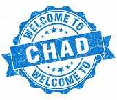 Welcome To Chad Blue Grungy Vintage Isolated Seal