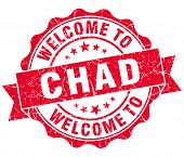 Welcome To Chad Red Grungy Vintage Isolated Seal