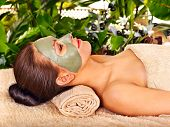 pic of beauty parlour  - Woman getting facial mask in tropical beauty spa - JPG