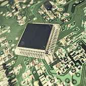 Closeup of a chip in an integrated circuit