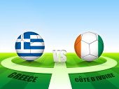 Soccer Match Greece v/s Cote d'ivoire countries flags for Soccer Competition in Brazil.