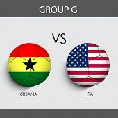 Group G Match Ghana v/s U.S.A countries flags for Soccer Competition in Brazil.