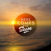 Type vector design - summers greeting sign against a sea sunset defocused background