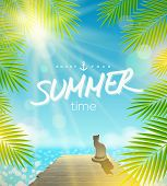 Summer Holidays vector design - Cat on the pier basking under ray of sun