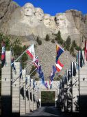 Mt Rushmore Flags Waving