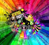 PArty Club Flyer for Music event with Explosion of colors. Includes a lot of music themes elements and a lot of space for text.