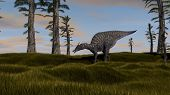 stock photo of dinosaurus  - saurolophus dinosaurus grazing - JPG