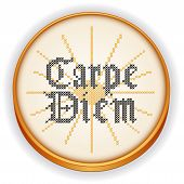 Carpe Diem Embroidery, Cross Stitch On Wood Hoop