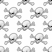 Skull and cross bones seamless pattern