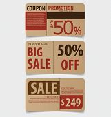 Sale Coupon, voucher, tag. Vintage Style template Design vector illustration.