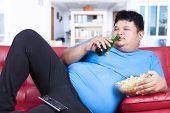 Lazy Fat Man At Home