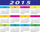 Year 2015 Colorful Calendar Schedule