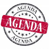 Agenda Red Grunge Textured Vintage Isolated Stamp