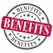 Benefits Red Grunge Textured Vintage Isolated Stamp
