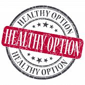 Healthy Option Red Grunge Textured Vintage Isolated Stamp