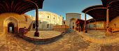 Panorama of the yard of an ancient mosque in the city of Itchan Kala at sunny day, Khiva, Uzbekistan