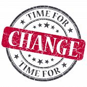 Time For Change Red Grunge Textured Vintage Isolated Stamp